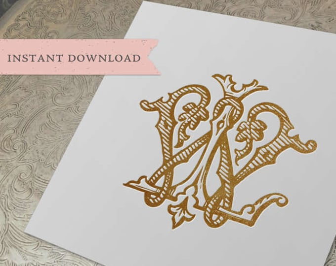 Vintage Wedding Monogram WL LW Digital Download W L