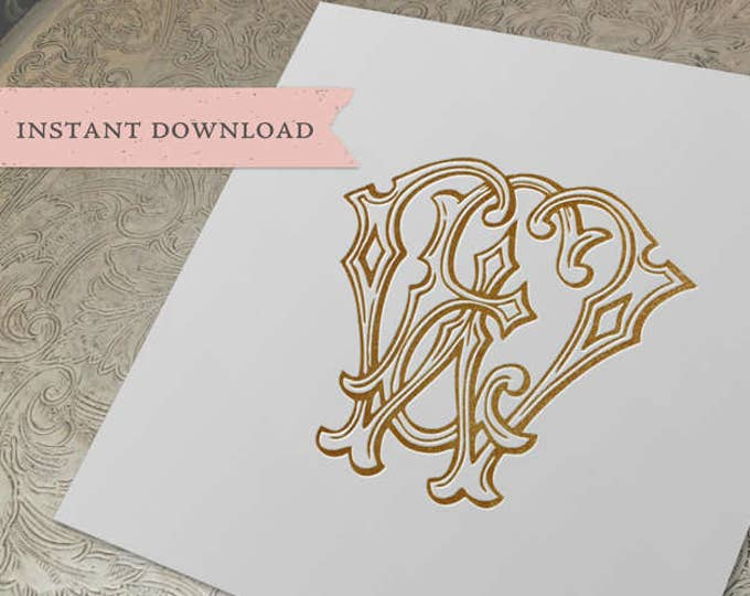 Vintage Wedding Monogram WE EW Digital Download E W