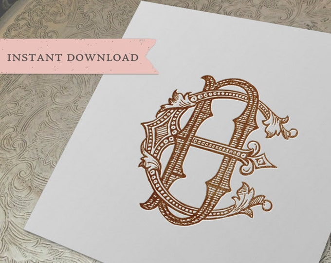 Vintage Wedding Monogram ED DE Digital Download E D