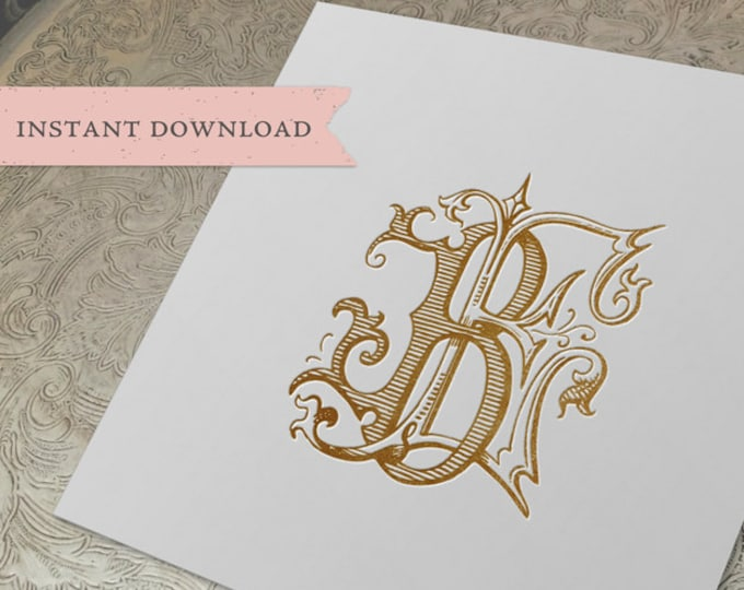 Vintage Monogram BE Digital Download B E