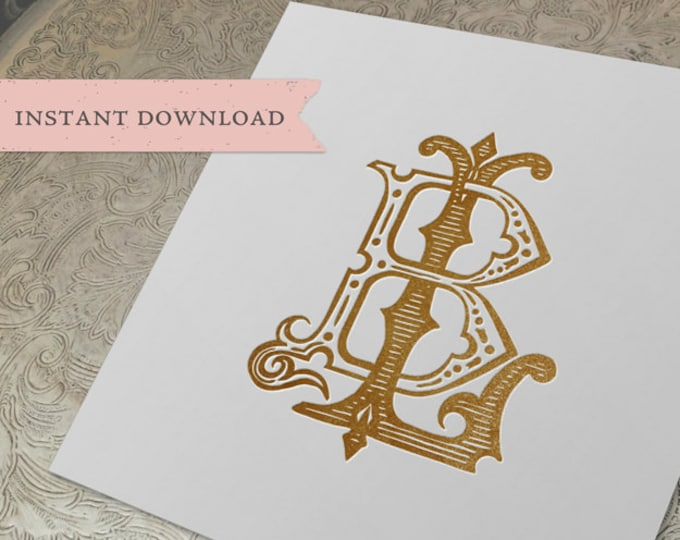Vintage Wedding Monogram LB BL Digital Download B L