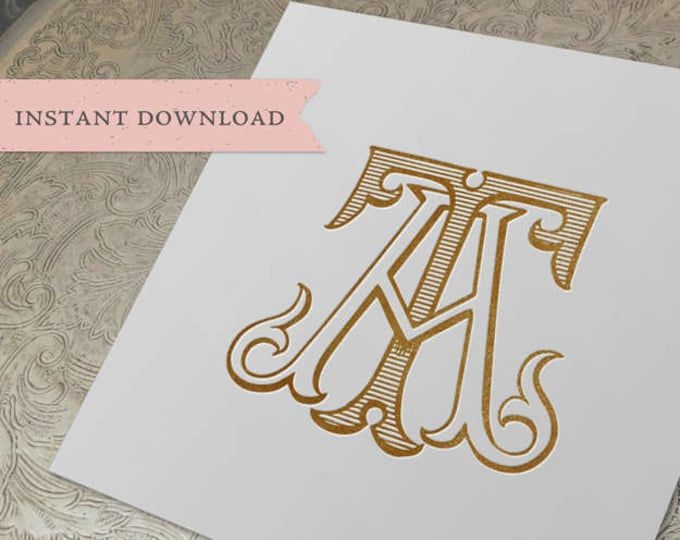 Vintage Monogram TA AT Digital Download A T