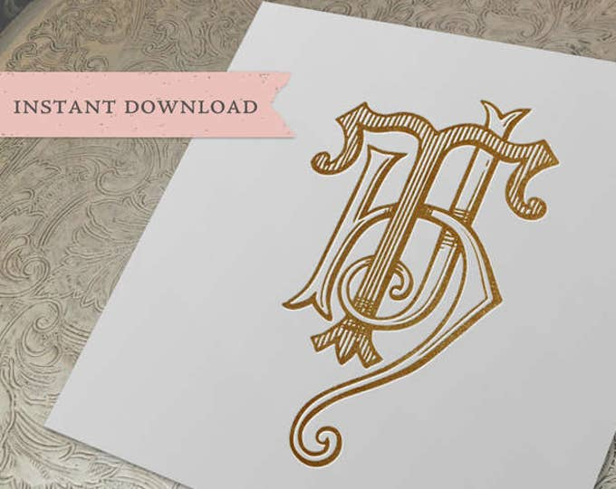 3 Initial Vintage Monogram HTJ Three Letter Wedding Monogram Digital Download H T J
