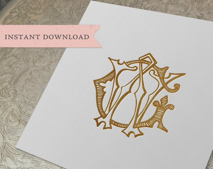 Vintage Wedding Monogram WG GW Digital Download W G