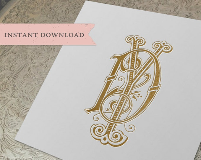Vintage Wedding Monogram DY YD Digital Download D Y