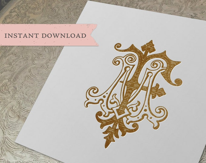 Vintage Wedding Monogram MF FM Digital Download M F
