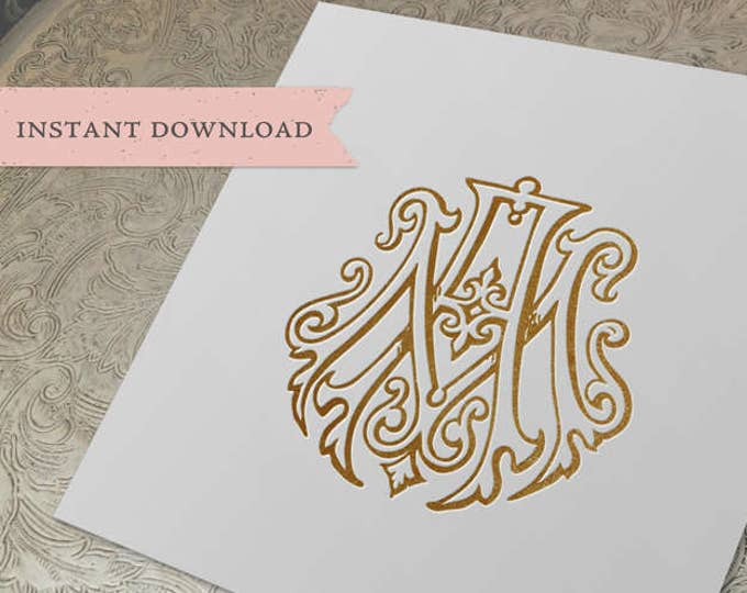 Vintage Wedding Monogram AM MA Duogram Digital Download  A M