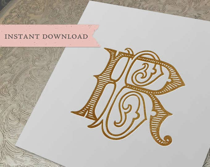 Vintage Wedding Duogram RB BR Monogram Digital Download B R