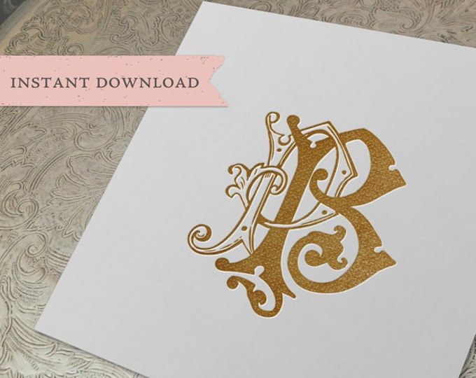 Vintage Wedding Monogram PB Digital Download P B