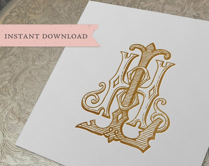 Vintage Wedding Monogram HL LH Digital Download H L