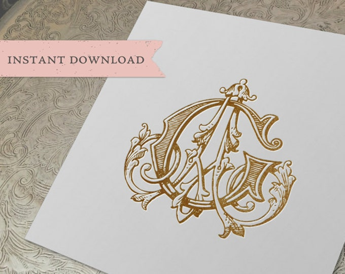 Vintage Wedding Monogram AG GA Digital Download G A