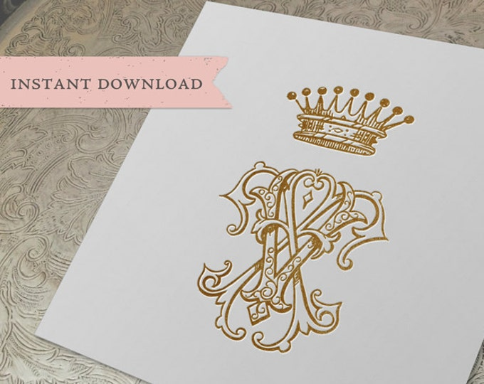 Vintage CROWN Monogram FV VF Digital Download F V