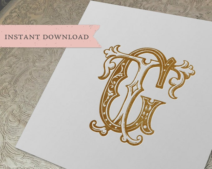 Vintage Wedding Monogram GT TG Digital Download G T