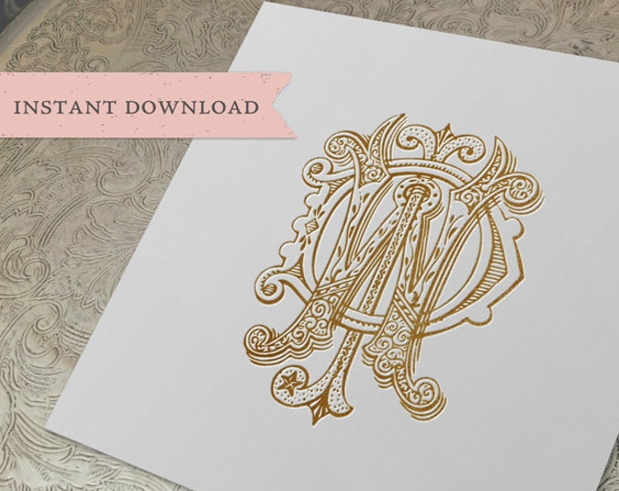 3 Initial Vintage Monogram DJW WJD WDJ Three Letter Wedding Monogram Digital Download W J D