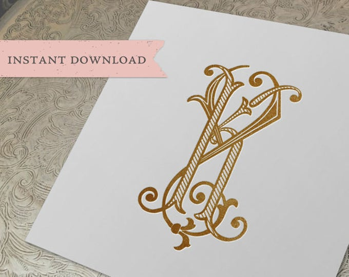Vintage Wedding Monogram KY YK Digital Download K Y