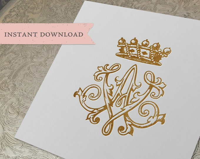 Vintage CROWN Monogram AV VA Digital Download A V