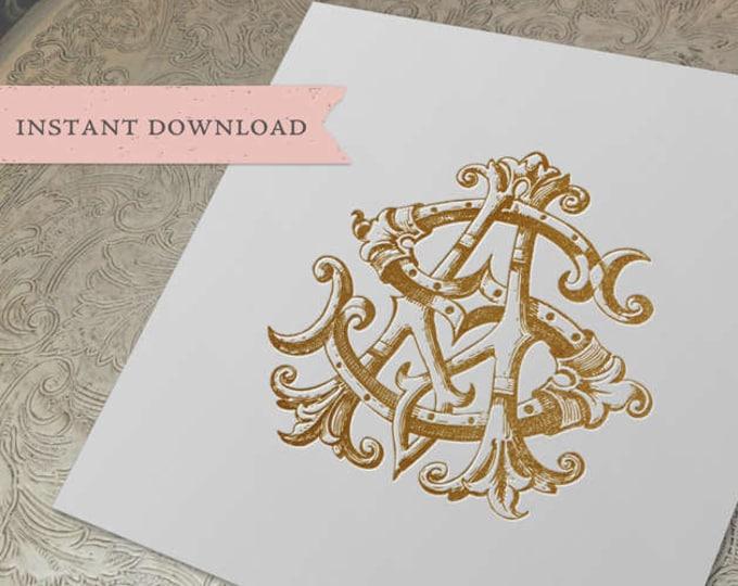 Vintage Wedding Monogram AS SA Digital Download  A S