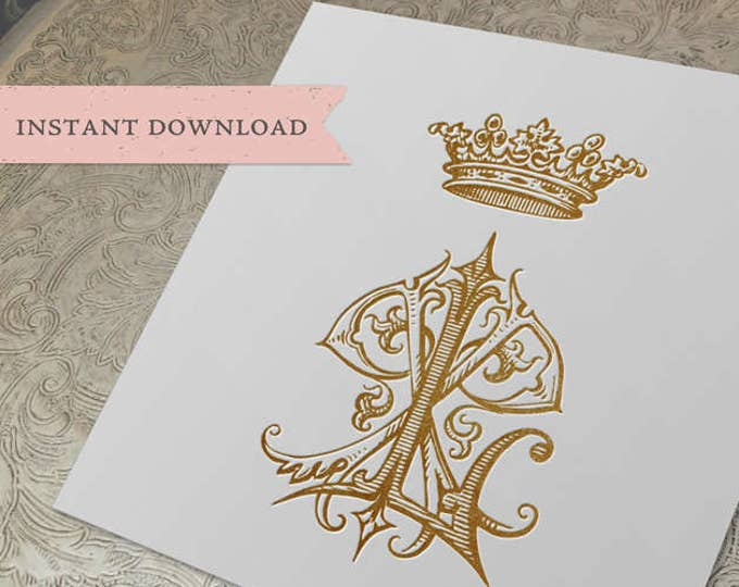 Vintage Crown Wedding Monogram PL LP PLP Digital Download P L