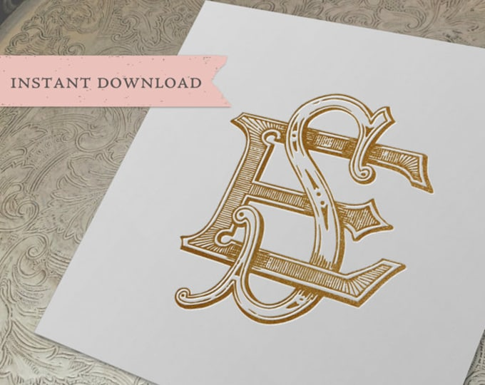 Vintage Wedding Monogram SE ES Digital Download  E S
