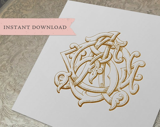 3 Initial Vintage Monogram GSA SGA AGS Three Letter Wedding Monogram Digital Download G S A