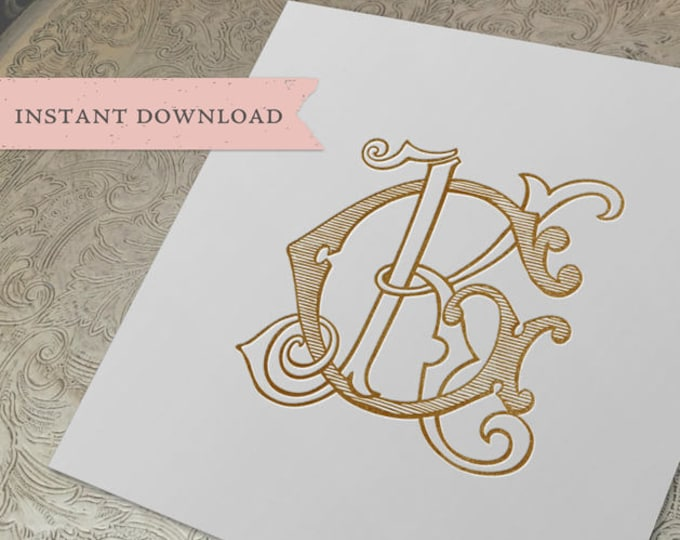 Vintage Wedding Monogram GK KG Wedding Duogram Digital Download K G