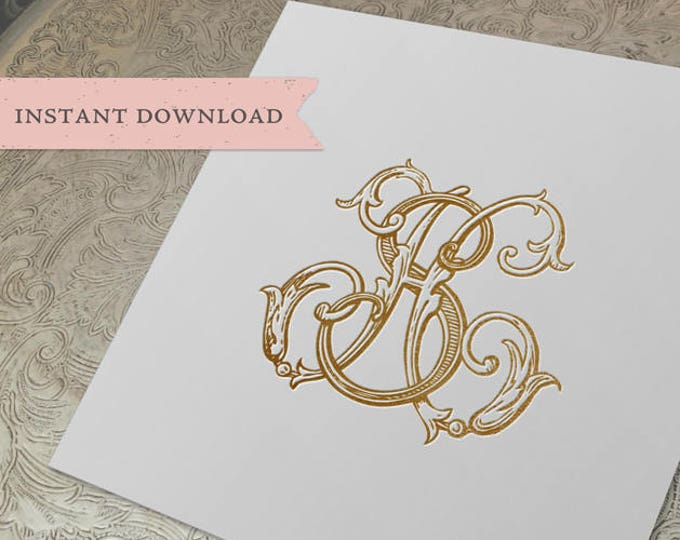 Vintage Wedding Monogram SH HS Digital Download S H