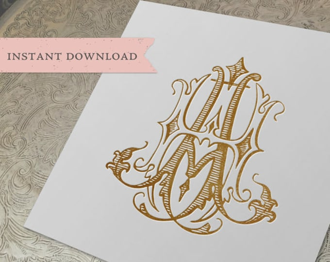 Vintage Wedding Monogram AH HA Digital Download A H