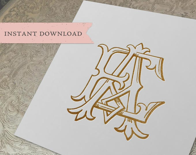 Vintage Wedding Monogram AE EA Digital Download A E