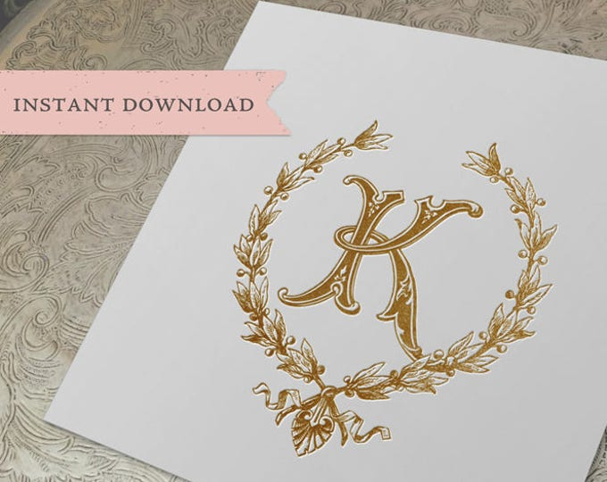Vintage Wedding Initial K Laurel Wreath Crest Digital Download
