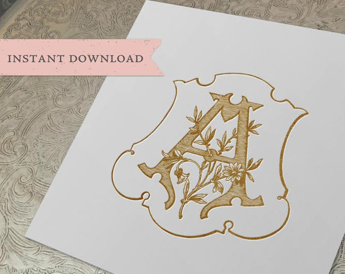 Vintage Wedding Initial Crest A Digital Download