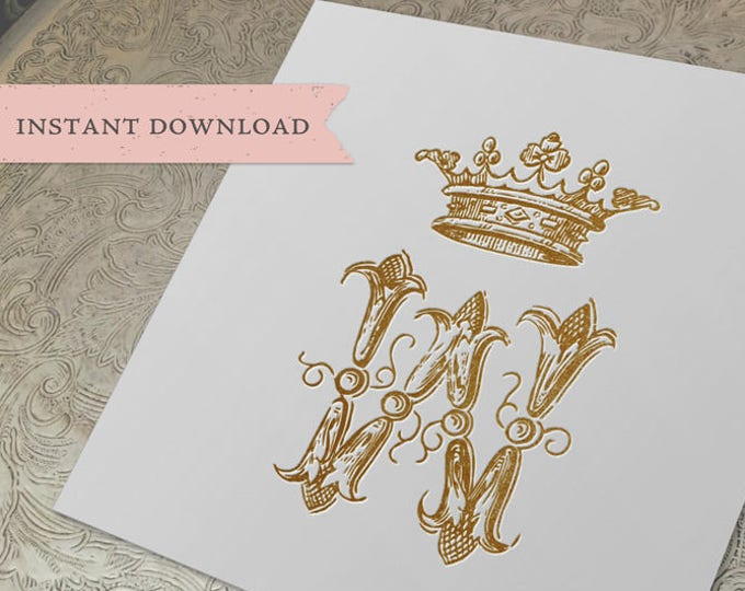 Vintage Wedding CROWN Crest Initial W Digital Download