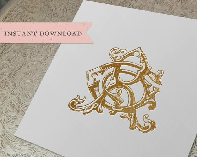 Vintage Wedding Monogram GR RG Digital Download G R