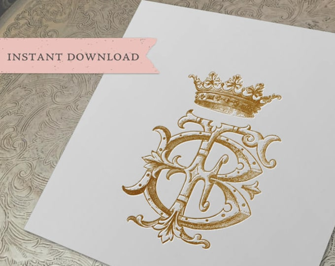 Vintage CROWN Wedding Monogram FB BF Digital Download B F