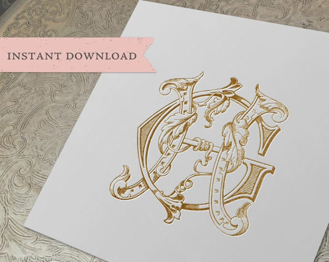 Vintage Wedding Monogram GH HG Digital Download G H