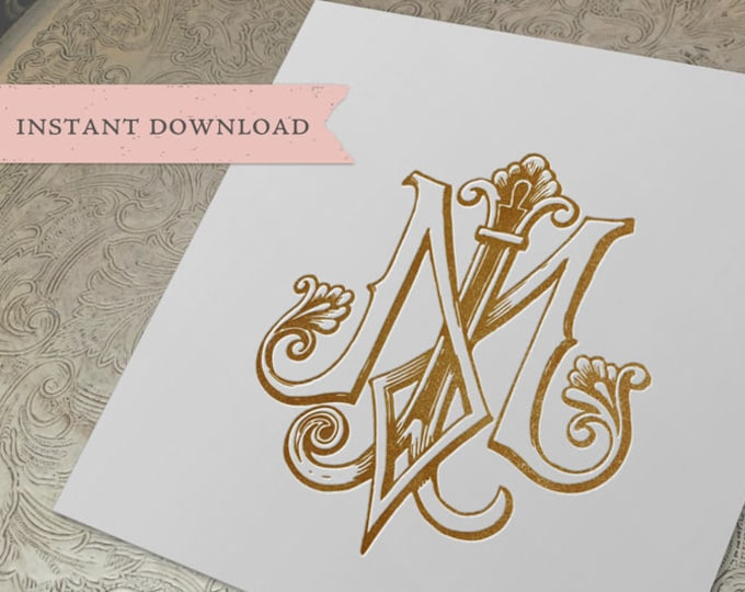 Vintage Wedding Monogram MJ JM Digital Download M J