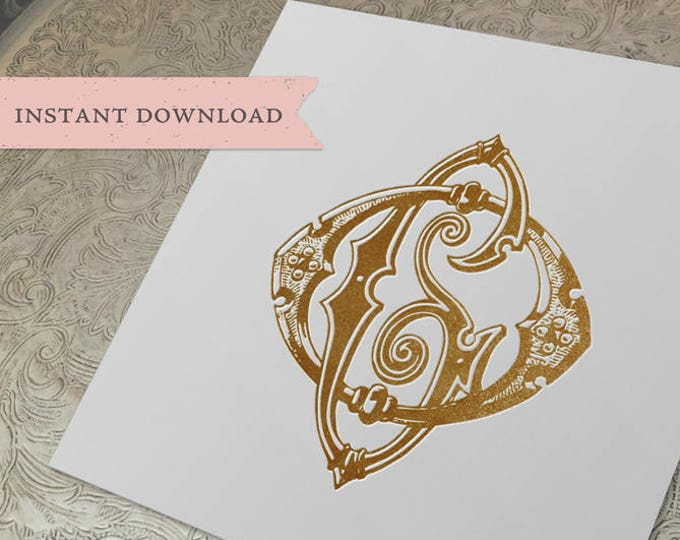 Vintage Wedding Monogram OG GO Digital Download G O