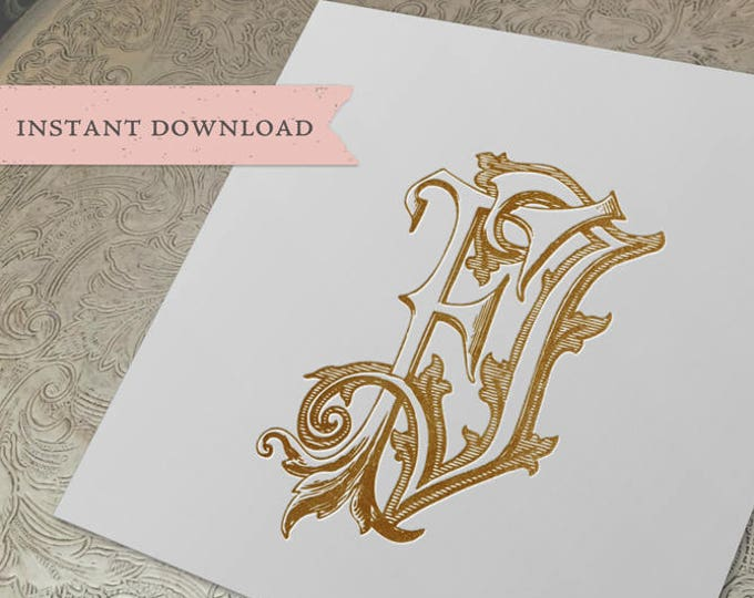 Vintage Wedding Monogram FJ Digital Download F J