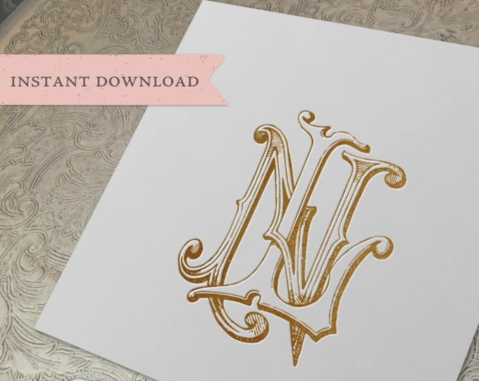 Vintage Wedding Monogram NL LN Digital Download N L