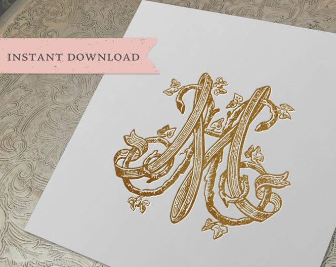 Vintage Wedding Monogram MH HM duogram Digital Download  H M