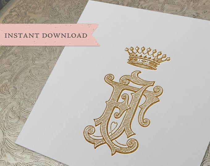 Vintage CROWN Monogram FJ  Digital Download FJ crown monogram
