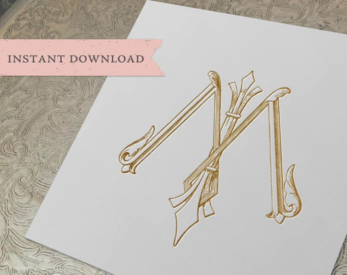 Vintage Wedding Monogram MI IM Digital Download I M