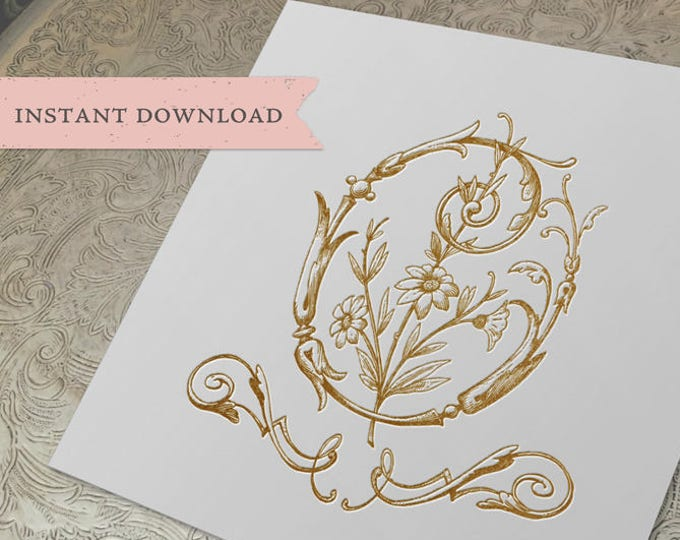 Vintage Wedding Crest Initial O Digital Download