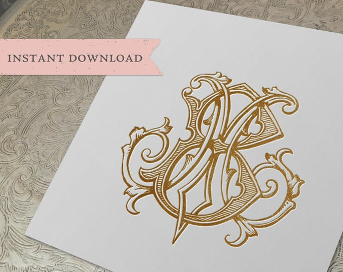 Vintage Wedding Monogram MB Digital Download M B