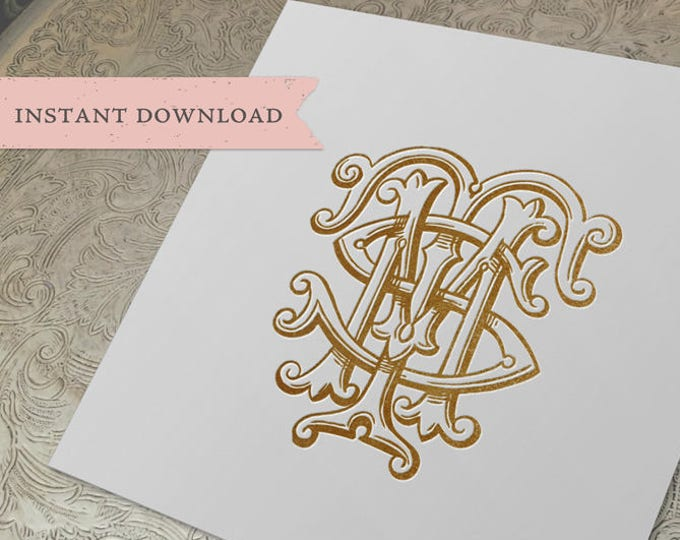 3 Initial Vintage Monogram MTS  Three Letter Wedding Monogram Digital Download M T S