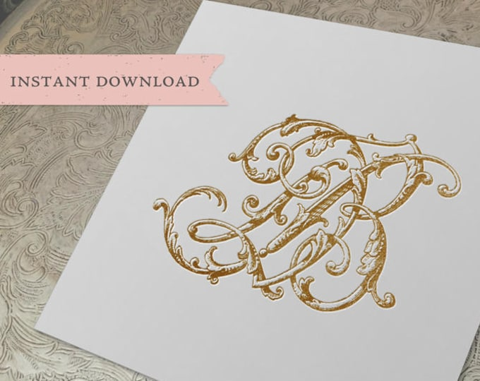 Vintage Wedding Monogram DB Digital Download D B