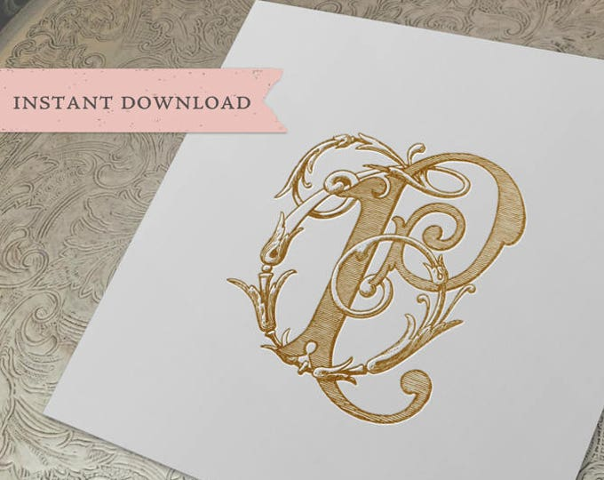 Vintage Wedding Monogram TP PT Digital Download T P