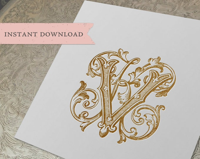 Vintage Wedding Monogram KV VK Digital Download  K V