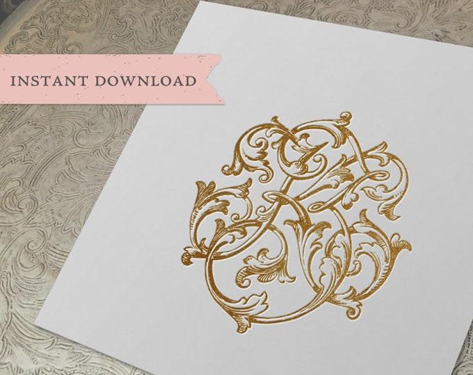 Vintage Wedding Monogram KZ ZK Digital Download  K Z