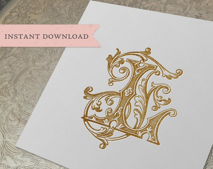 Vintage Wedding Monogram LF FL Digital Download FJ L