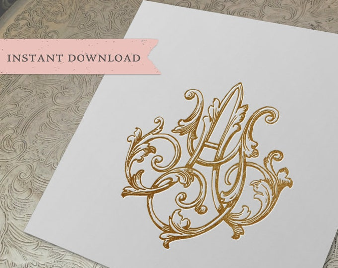 Vintage Wedding Monogram AY YA Digital Download A Y